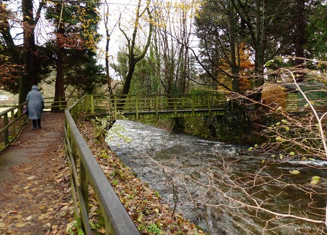Wooden footbridge crossing the River Rothay