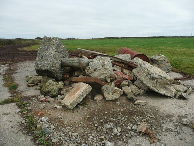 Pile of rubble at a bend in the path to the coast, Dale
