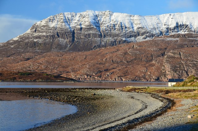 Shingle beach and Ben More Coigach