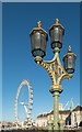 TQ3079 : Lamp and London Eye from Westminster Bridge, London SE1 by Christine Matthews