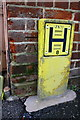 SP7840 : Benchmark and hydrant sign at #107 High Street by Roger Templeman