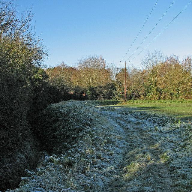 Little Thetford: frosty footpath