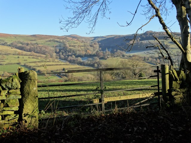 Gate on Coggers Lane with view to Hathersage church