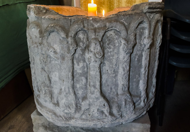 Old font, St Helen's church, Thorney