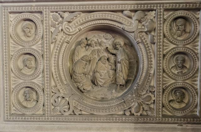 Pulpit detail. St Helen's church, Thorney