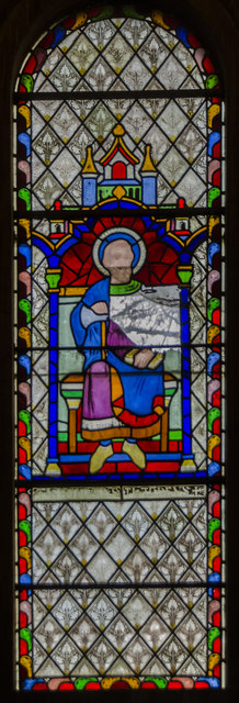 Damaged stained glass window, St Helen's church, Thorney