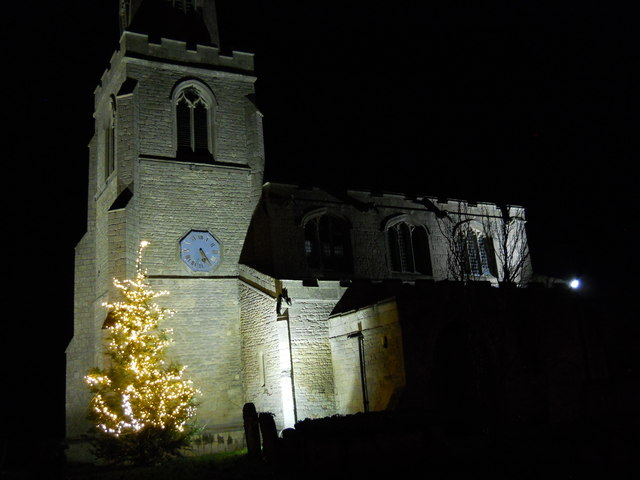 St. Benedict's Church, Glinton, by night with Christmas tree