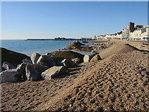 TQ8109 : Groyne construction, Pelham beach by Oast House Archive