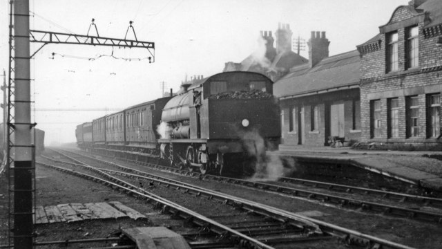 Westoe Lane station, South Shields, Marsden & Whitburn Colliery Railway on Last Day, 1953