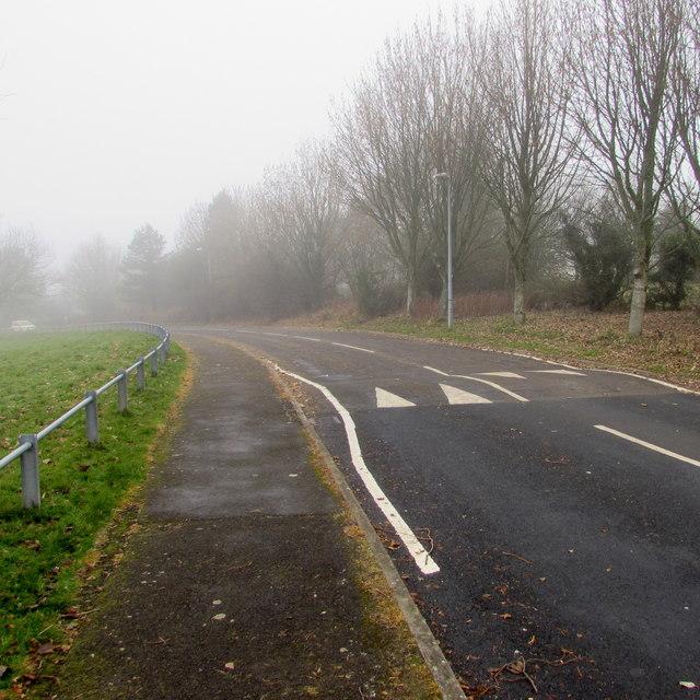 Into the fog, Woodside Road, Trevethin
