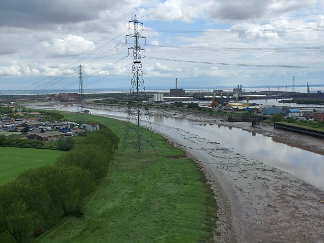 The view down river to the Uskmouth  power stations