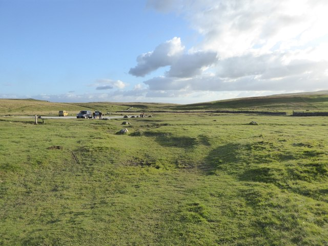 Moorland and car park south of Malham Tarn