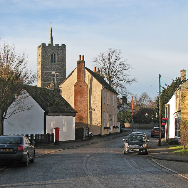 Fowlmere High Street in winter