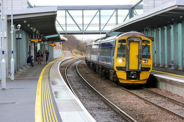 A Class 158 diesel multiple unit train at Edinburgh Gateway train station
