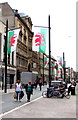 ST1876 : Welsh Flags, St Mary Street, Cardiff by Jaggery