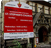 SZ0891 : Information board,  St Stephen's Church, Bournemouth by Jaggery