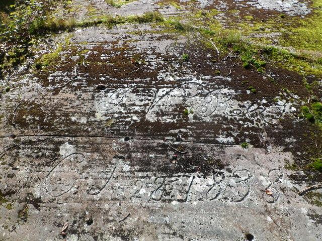 Bryn Bella rock cannon (close-up of inscription), Rachub