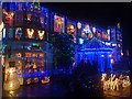 ST3087 : House decorated with Christmas lights, Newport by Robin Drayton
