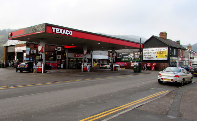 Texaco filling station and Spar shop, Commercial Street, Risca