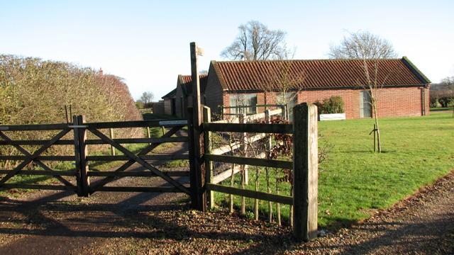 Footpath past Stag Farm Barns
