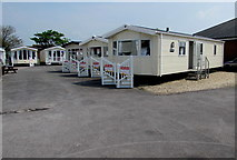 ST3050 : Mobile homes and steps in the Willerby yard, Burnham-on-Sea by Jaggery