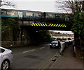 ST2986 : Ebbw Vale train crosses above Cardiff Road, Newport by Jaggery