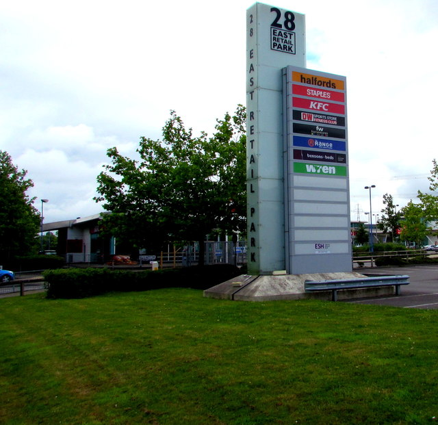 Businesses nameboard, 28 East Retail Park, Newport