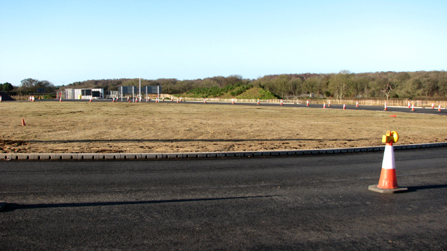 View across the new roundabout on Fir Covert Road
