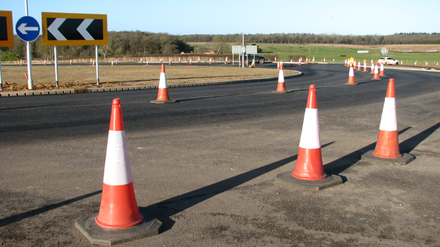 Traffic cones on Fir Covert roundabout
