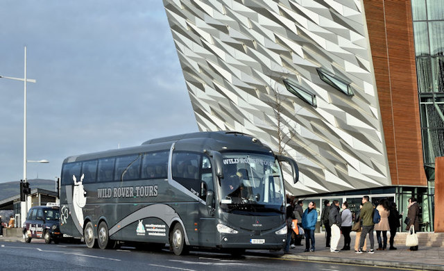 Wild Rover coach, Titanic Quarter, Belfast (December 2016)