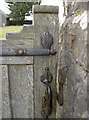 ST5055 : A mitre in the wooden gate by Neil Owen