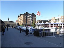 SO8218 : Museum building and Christmas ice rink, Gloucester Docks by David Smith