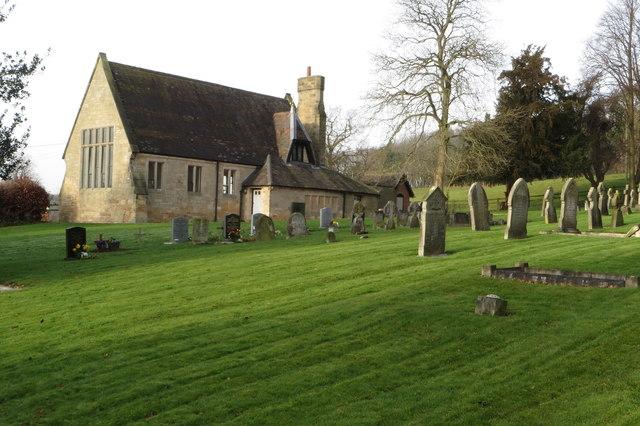 Dunstall parish hall and churchyard