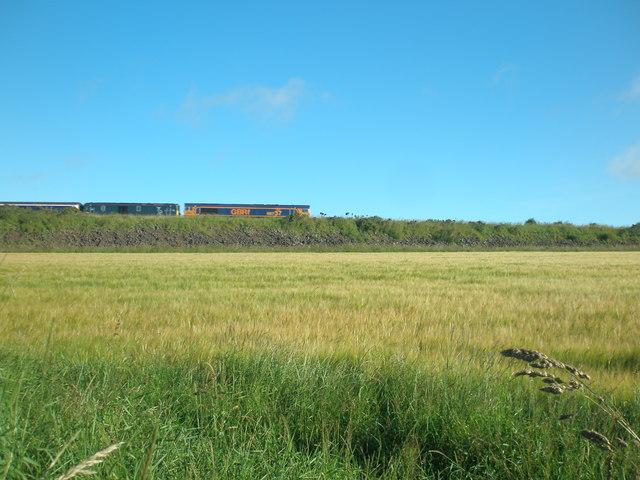 Two trains on an embankment near Usan