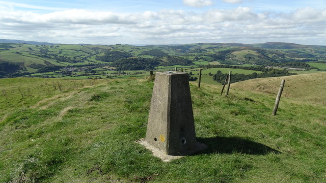 Trig point at Cwm-sanaham Hill near Knighton