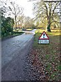 TL2966 : Flooding sign on Church End, Hilton by Gordon Brown