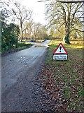 TL2966 : Flooding sign on Church End, Hilton by Gordon Brown