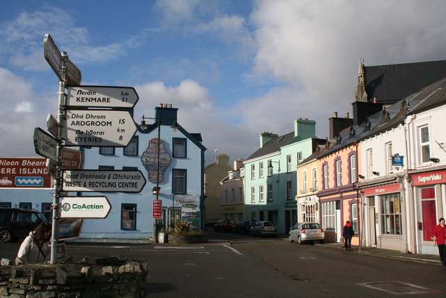 Castletownbeara: Road junction with signpost
