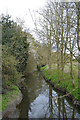 SP3576 : River Sowe upstream from the footbridge out of Whitley Grove, southeast Coventry by Robin Stott