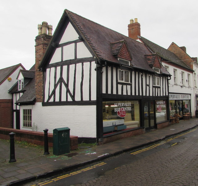 Black and white timber frame building in High Street, Droitwich
