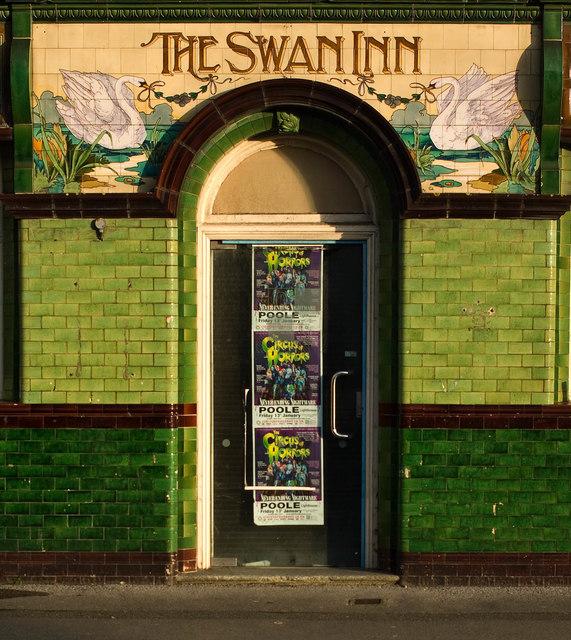 """Entrance, former """"The Swan Inn"""", Poole"""