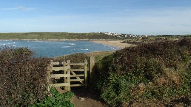Kissing gate on coast path SW of Crantock Beach