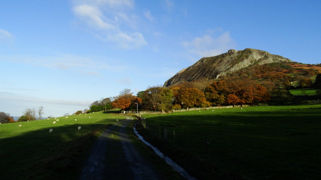 On coast path on eastern outskirts of Llanfairfechan with view towards Penmaen Mawr (Quarries)
