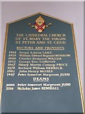 TL7006 : Chelmsford Cathedral: incumbency board (2) by Basher Eyre