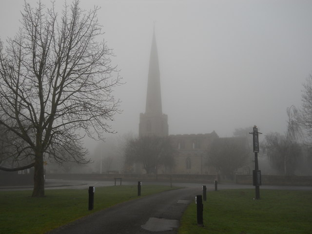 St. Benedict's Church, Glinton, on a foggy day