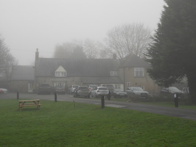 The Blue Bell, Glinton, on a foggy day