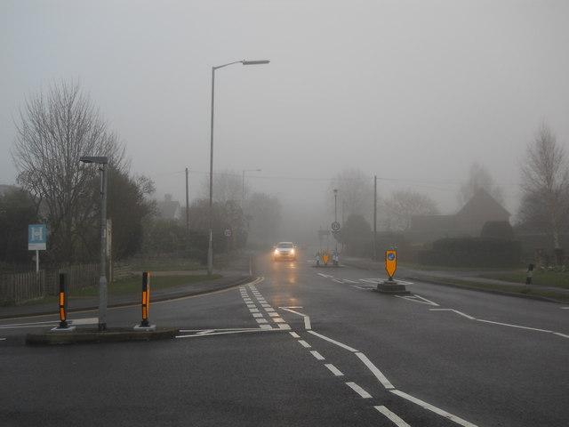 Lincoln Road, Glinton, on a foggy day