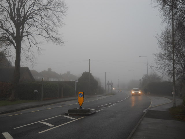 Lincoln Road, Glinton, on a foggy day