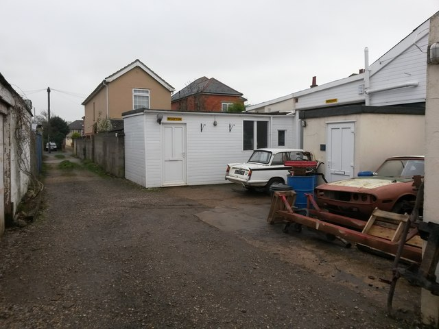 West Southbourne: garage workshop accessed from footpath H12