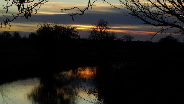 Dusk on Macclesfield Canal from near Leek Old Rd Bridge, Sutton Lane Ends